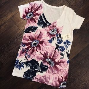 NWT XS Lucky Brand Marker Floral Print Tee White